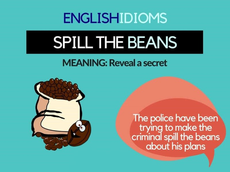 nghia cua Idioms Spill the beans trong tieng anh