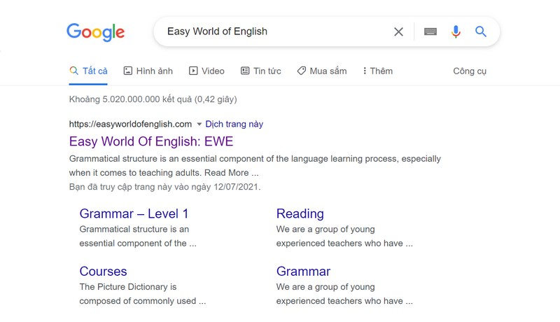 Học Tiếng Anh online qua website Easy World of English