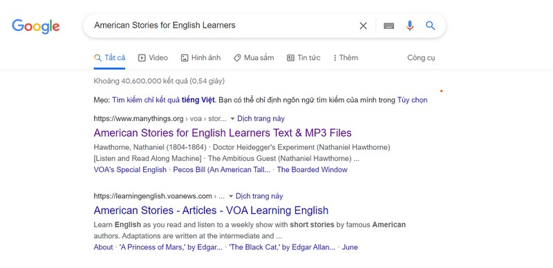 Học tiếng Anh online tại website American Stories for English Learners